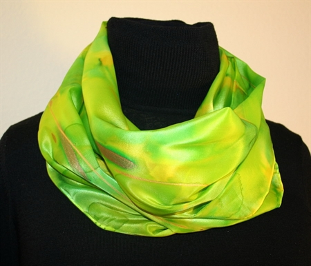 Silk Scarf in Bright Hues of Green and Lime