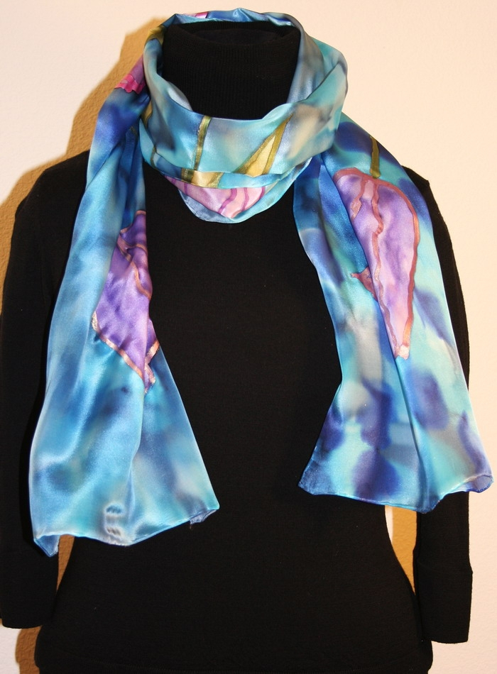 buy painted silk scarves