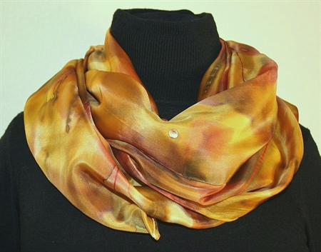 Multicolored Silk Shawl in Hues of Brown