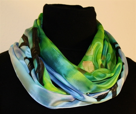 Enchanted Forest Silk Scarf in Green and Blue