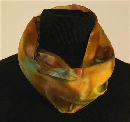 Hand Painted Silk Scarf in Brown and Green
