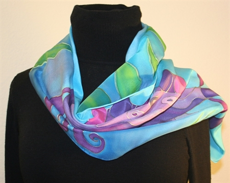 Purple Fish Hand Painted Silk Scarf