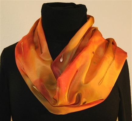 Hand Painted Silk Scarf in Yellow, Orange and Red