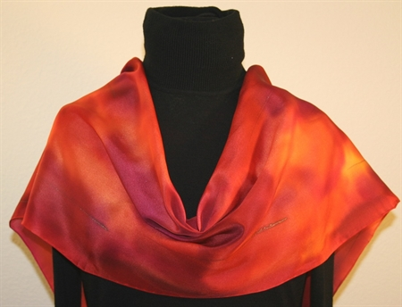 Hand Painted Silk Scarf in Burgundy, Red and Orange