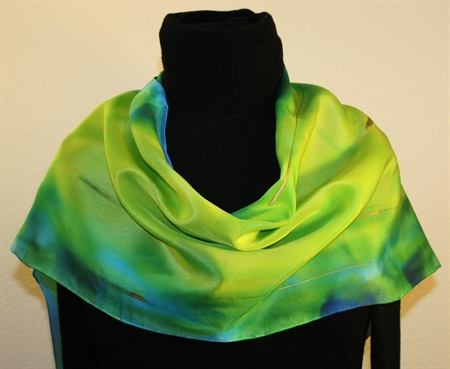 Hand Painted Silk Scarf in Blue and Chartreuse
