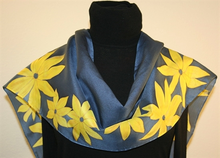 Royal Blue Hand Painted Silk Scarf with Yellow Flowers