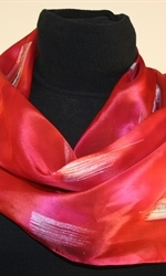 Moroccan Red Silk Scarf with Silver Accents - photo 3