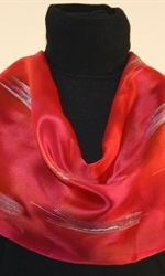 Moroccan Red Silk Scarf with Silver Accents - photo 2