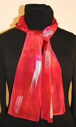 Moroccan Red Silk Scarf with Silver Accents - photo 1