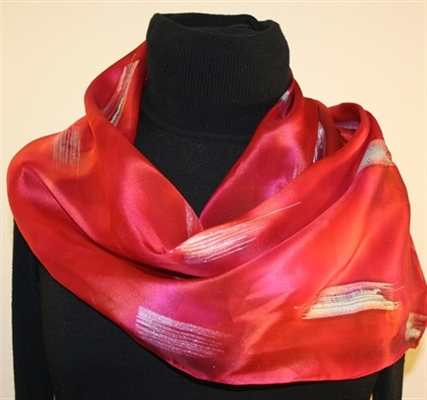 Moroccan Red Silk Scarf with Silver Accents
