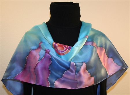 Two Fish Beauties hand painted silk scarf