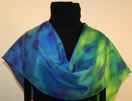 Blue and Green Brushstrokes Hand Painted Silk Scarf