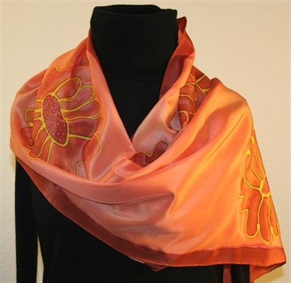Peach and Brown Hand Painted Silk Scarf with Flowers