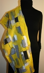 Yellow and Gray Hand Painted Silk Scarf - photo 4