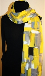 Yellow and Gray Hand Painted Silk Scarf - photo 3