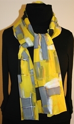 Yellow and Gray Hand Painted Silk Scarf - photo 2