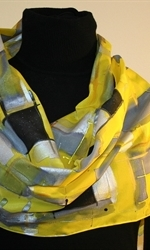 Yellow and Gray Hand Painted Silk Scarf - photo 1