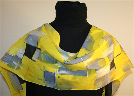 Yellow and Gray Hand Painted Silk Scarf