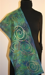 Green and Blue Hand Painted Silk Scarf with Multicolored Spirals - photo 4