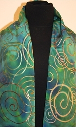 Green and Blue Hand Painted Silk Scarf with Multicolored Spirals - photo 3