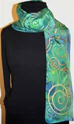Green and Blue Hand Painted Silk Scarf with Multicolored Spirals - photo 2