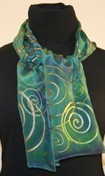 Green and Blue Hand Painted Silk Scarf with Multicolored Spirals - photo 1