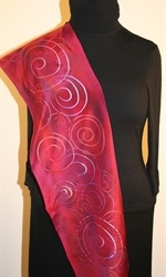 Crimson and Purple Hand Painted Silk Scarf with Spirals - photo 4