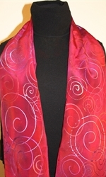 Crimson and Purple Hand Painted Silk Scarf with Spirals - photo 3