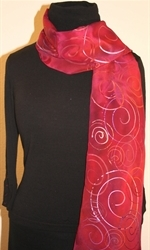 Crimson and Purple Hand Painted Silk Scarf with Spirals - photo 2