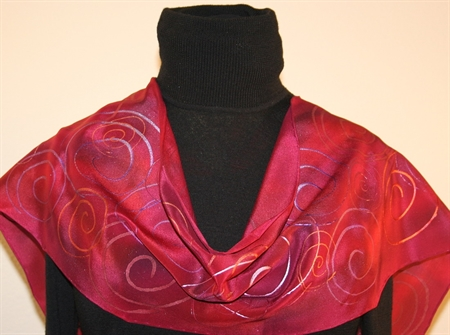 Crimson and Purple Hand Painted Silk Scarf with Spirals