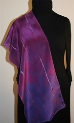 Purple and Pale Violet Hand Painted Silk Scarf - photo 4