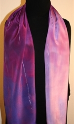 Purple and Pale Violet Hand Painted Silk Scarf - photo 3