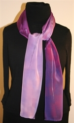 Purple and Pale Violet Hand Painted Silk Scarf - photo 2