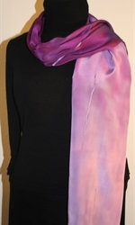 Purple and Pale Violet Hand Painted Silk Scarf - photo 1