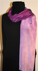Purple and Pale Violet Hand Painted Silk Scarf