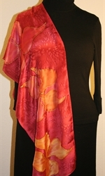 Burgundy Silk Scarf with Stylized Flowers in Hues of Red - photo 4