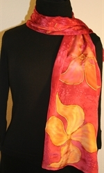 Burgundy Silk Scarf with Stylized Flowers in Hues of Red - photo 3