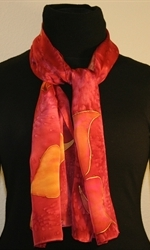 Burgundy Silk Scarf with Stylized Flowers in Hues of Red - photo 2