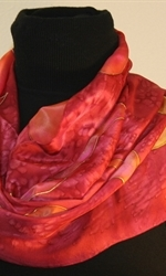 Burgundy Silk Scarf with Stylized Flowers in Hues of Red - photo 1