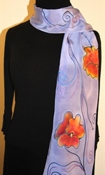 Light Violet Hand Painted Silk Scarf with Four Flowers - photo 4