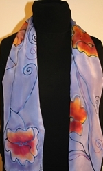 Light Violet Hand Painted Silk Scarf with Four Flowers - photo 2