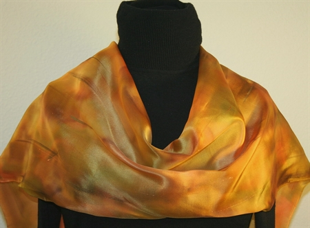 Hand Painted Silk Scarf in Light Fall Colors