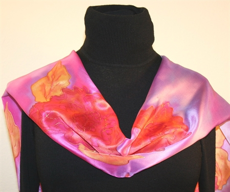 Pink and Light Purple Hand Painted Silk Scarf with Roses