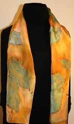 Forest Colors Hand Painted Silk Scarf - photo 4