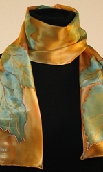 Forest Colors Hand Painted Silk Scarf - photo 1