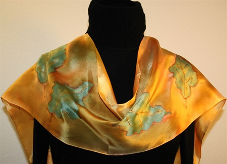 Forest Colors Hand Painted Silk Scarf