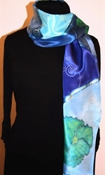 Blue, Green and Silver Hand Painted Silk Scarf with Flowers - photo 3