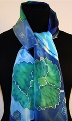 Blue, Green and Silver Hand Painted Silk Scarf with Flowers - photo 2