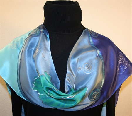 Blue, Green and Silver Hand Painted Silk Scarf with Flowers