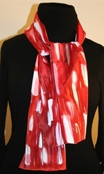 Red and White Hand Painted Silk Scarf with Silver Accents - photo 4